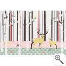 Hip, origineel kinderkamer behang. Bestel nu rechtstreeks bij de ontwerper!  Posterbehang Het hertenbos koraal roze