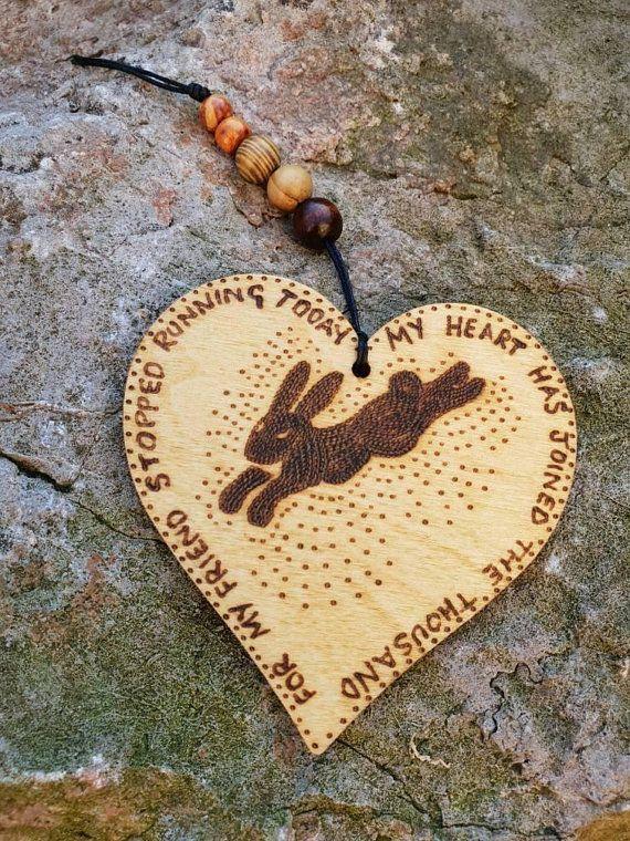 Wooden heart shaped rabbit, bunny, Watership Down inspired keepsake, gift can be personalised, pet memorial, pet loss, hanging decoration