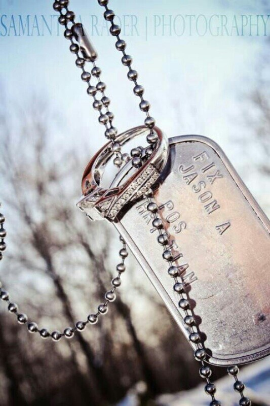 One of Jason and I's engagement photos! | Samantha Rader Photography! Dog tags, military, army
