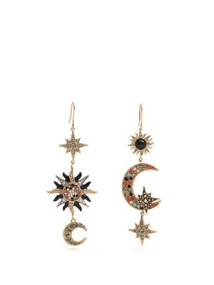 Sun, star and moon-embellished drop earrings | Roberto Cavalli | MATCHESFASHION.COM US