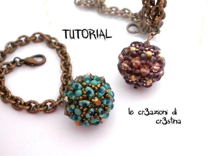 Tutorial Sfera Rivestita con Twin Beads / Superduo, Bicono e Perle Swarovski - Beaded Bead