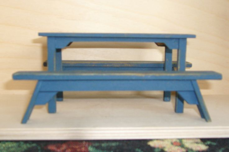 Dollhouse country table and benches