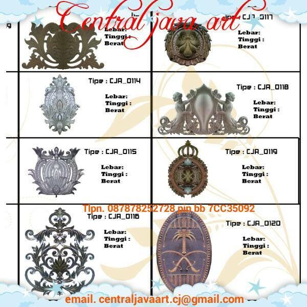 CENTRAL JAVA ART. specialists working on classic wrought iron. also accept orders wrought iron ornaments cast alluminium. at competitive prices accept special orders both in the city and outside the city also received an order Export. with a variety of different kinds of ornamental motifs. also special order. with experts who are creative and innovative tlpn. +6287878252728 PIN bb. 54ECB664 WhatsApp. 085945443684 email: centraljavaart.cj@gmail.com jakarta. Indonesia