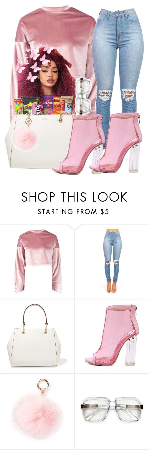 """""""Imma popping ass bitxh, let me remind ya"""" by teenratedvonnie ❤ liked on Polyvore featuring Boohoo, DKNY, WithChic and RAJ"""
