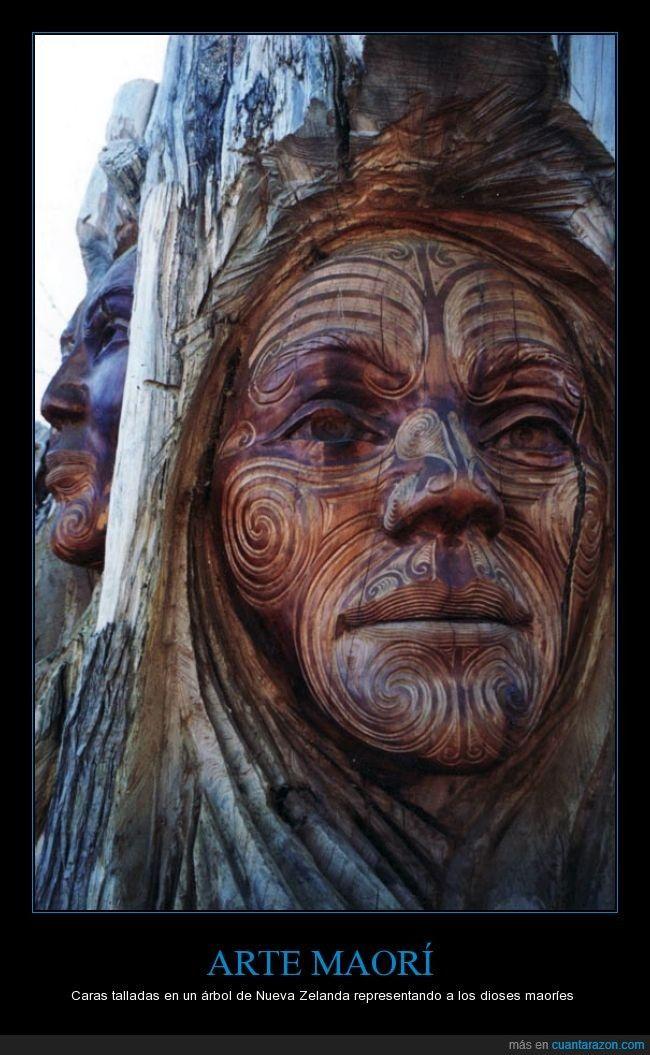 El arte maorí, siempre tan alucinante *____* - Caras talladas en un árbol de Nueva Zelanda representando a los dioses maoríes   Gracias a http://www.cuantarazon.com/   Si quieres leer la noticia completa visita: http://www.estoy-aburrido.com/el-arte-maori-siempre-tan-alucinante-____-caras-talladas-en-un-arbol-de-nueva-zelanda-representando-a-los-dioses-maories/