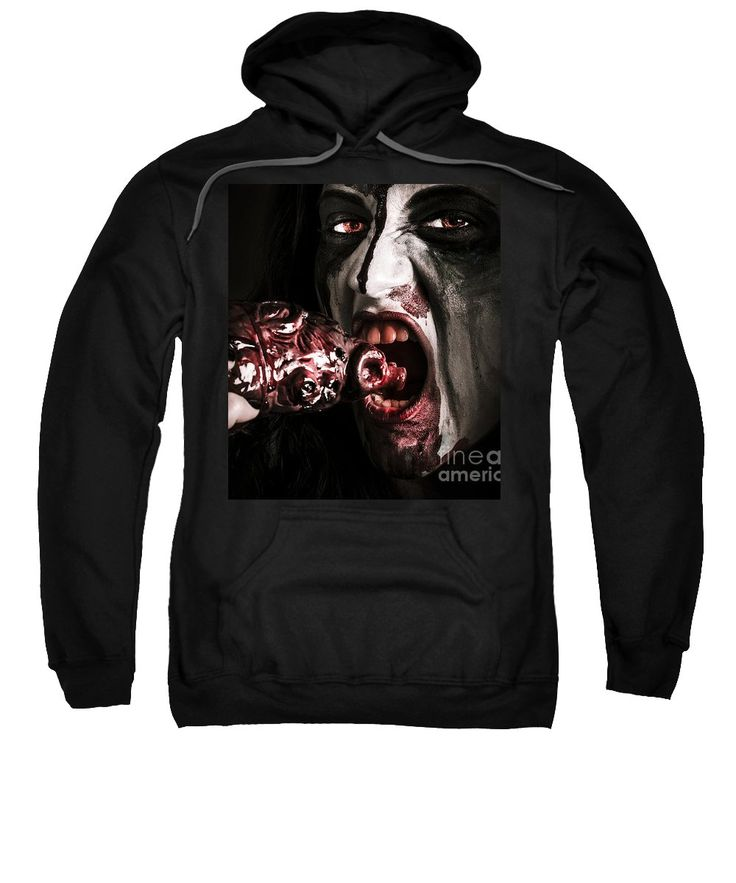 Scary Zombie Sweatshirt featuring the photograph Eat Your Heart Out. Zombie Eating Bloody Heart by Jorgo Photography - Wall Art Gallery