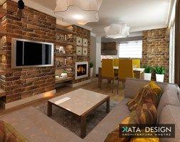 Mieszkanie w Modlniczce 70 m2. - Mały salon z kuchnią z jadalnią, styl rustykalny - zdjęcie od katadesign