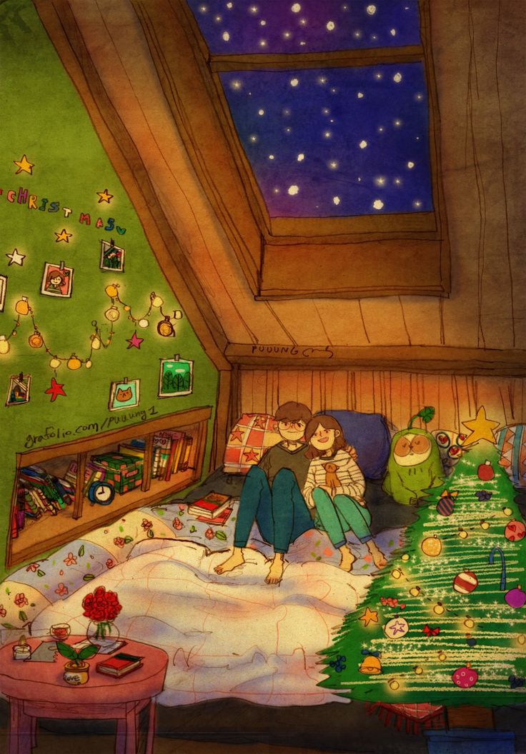 """♥  IT'S SNOWING! Huddled up in a cozy room, looking up at the sky as the snow falls. """"It would be nice if the snow piles up. We'll be able to have a snow fight again!""""  ♥  by Puuung at www.grafolio.com ♥"""
