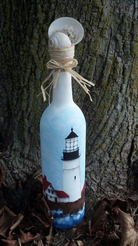 Decorative Lighthouse Wine Bottle on Etsy, $56.82 AUD