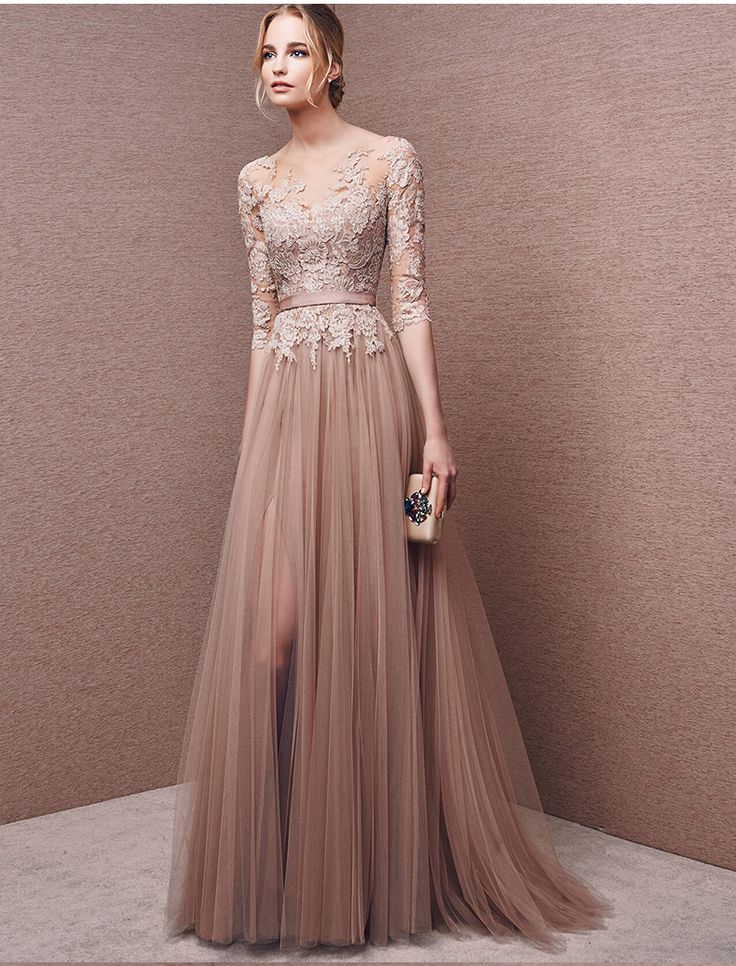 Champagne A line Prom Dresses,Lace Sheer Sleeve Tulle