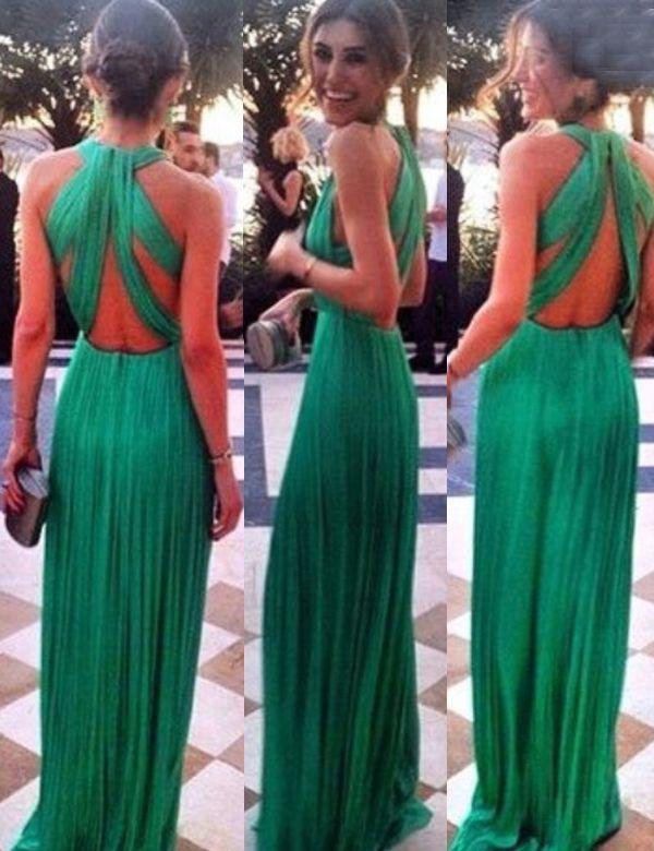 Sexy A-line Halter Criss-cross Back Green Chiffon Prom Dress,long prom dresses,criss-cross back prom dresses,green prom dresses,chiffon prom dresses 2016