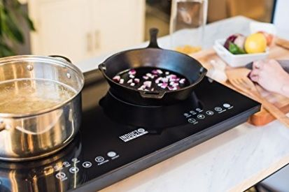 The Inducto dual induction cooktop counter top burner is energy efficient and uses up to 90% less energy than traditional gas or electric stove that belongs to the top 10 portable burner reviews by Kitchenette Chef. #inductioncooker