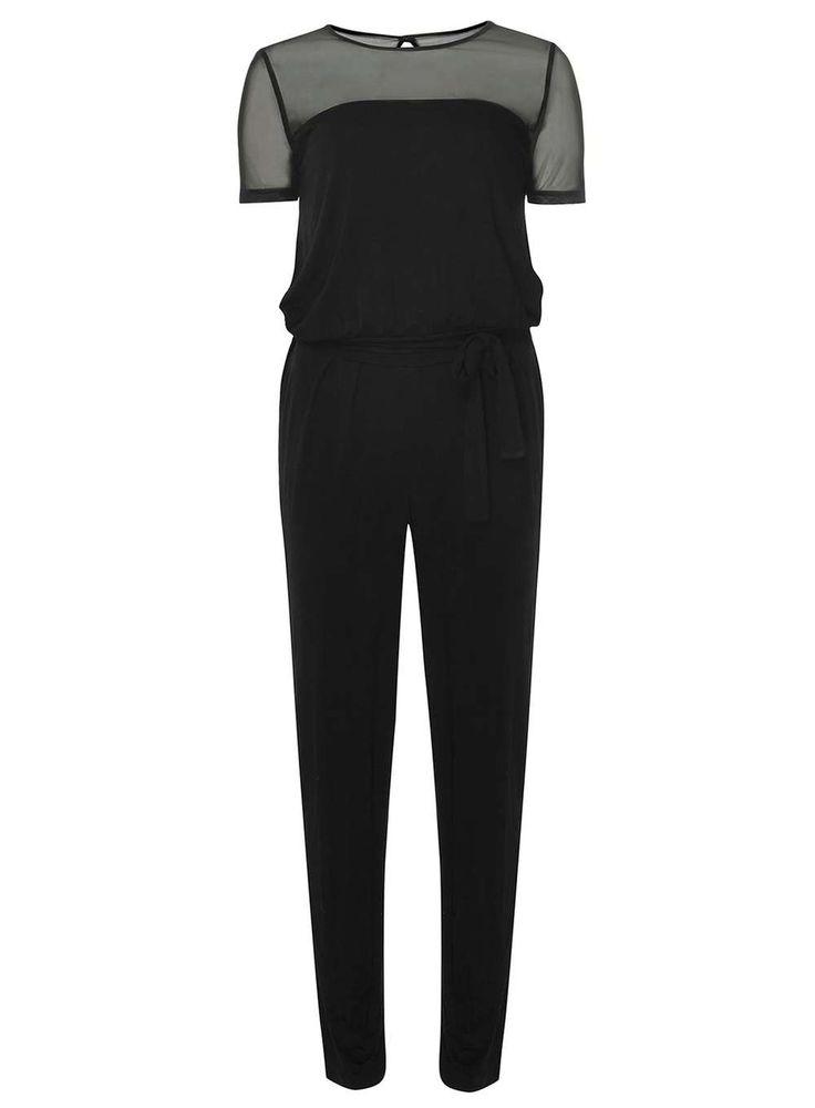 Petite Black Mesh Jumpsuit | Dorothyperkins