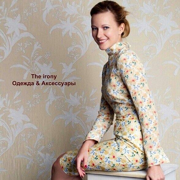 Платье с принтом the irony. Топ из шелка, юбка из льна с хлопком.