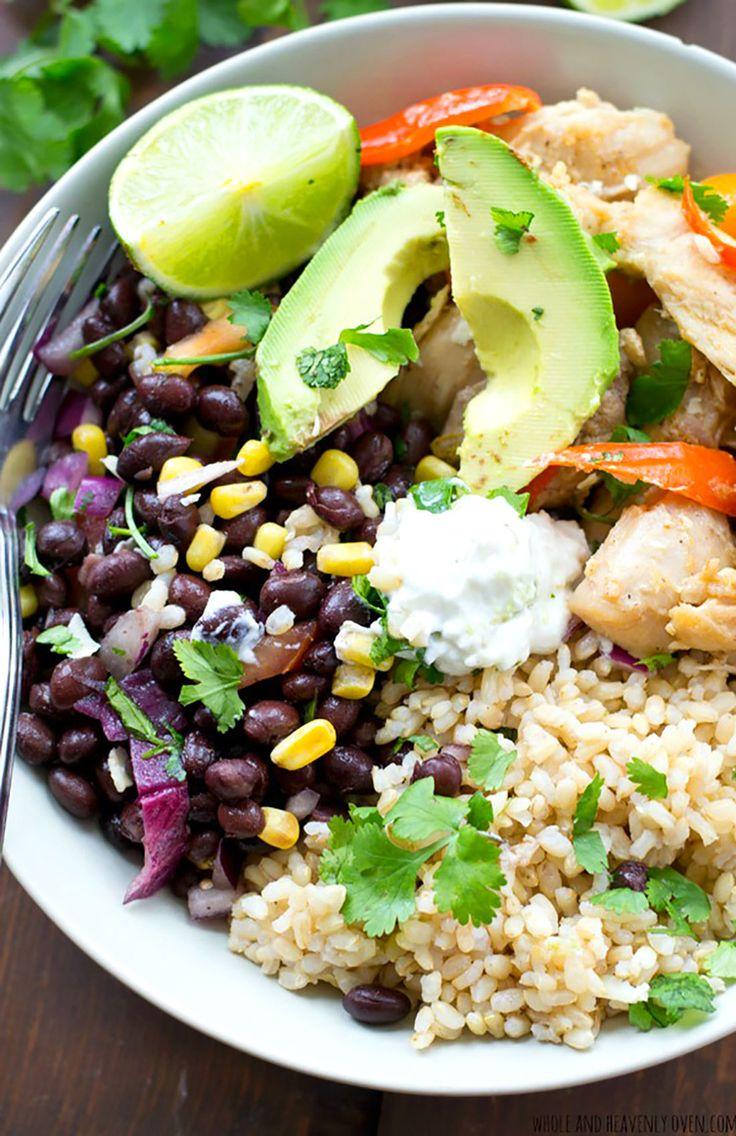 1. Mexican Chicken Fajita Rice Bowls #grainbowl #healthy #recipes http://greatist.com/eat/grain-bowl-recipes-healthy-dinner-ideas