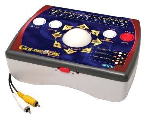PlayTV Golden Tee Golf by Radica Games. $39.72. Officially licensed by Golden Tee. Fun for all. Stroke or tournament mode. Golden Tee's unique trackball interface. 1-4 players. From the Manufacturer                Now Golden Tee Golf fans can play one of their favorite arcade style games right at home. Officially licensed by Incredible Technologies the makers of Golden Tee Play TV Golden Tee Golf features Golden Tee's unique trackball interface.                             ...