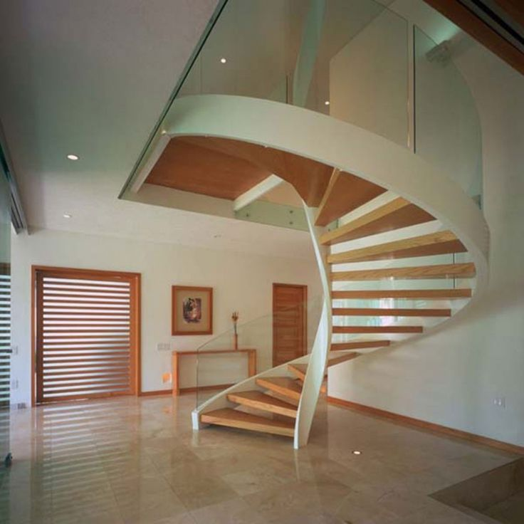 Elegant Floor Paint Color And Cool Wood Spiral Staircase