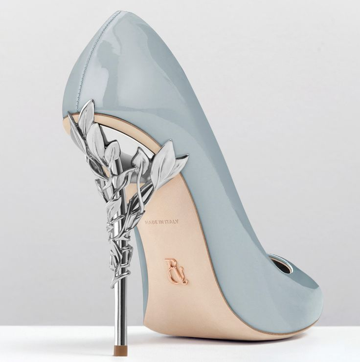 Ralph & Russo - Eden Heel Pump-38-Sky Blue Patent with Silver Leaves