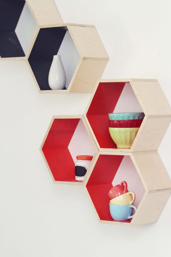 Orange Floating Honeycomb Shelves  Set of 5 by HandmadeRiot, $150.00