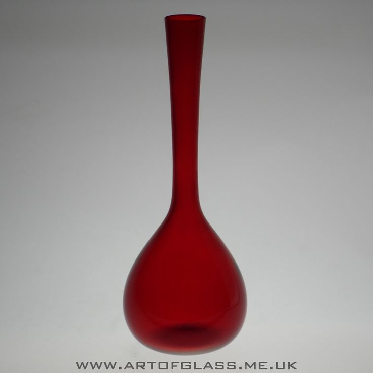 Swedish ruby red glass bottle vase