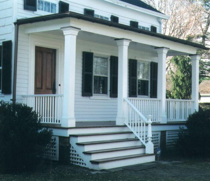 stained front porch columns