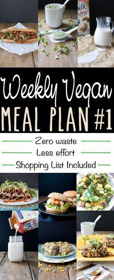 Vegan Meal Plan: Minimal waste and minimal effort - burritos, burgers, pasta, stuffed mushrooms, veggie philly sandwiches, tacos ; black bean ; farro ; spinach ; avocado