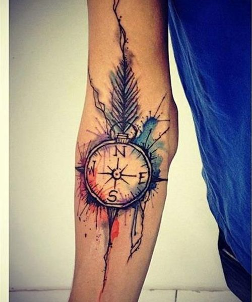 Cute Watercolor Sleeve Tattoo Ideas For Girls 2016