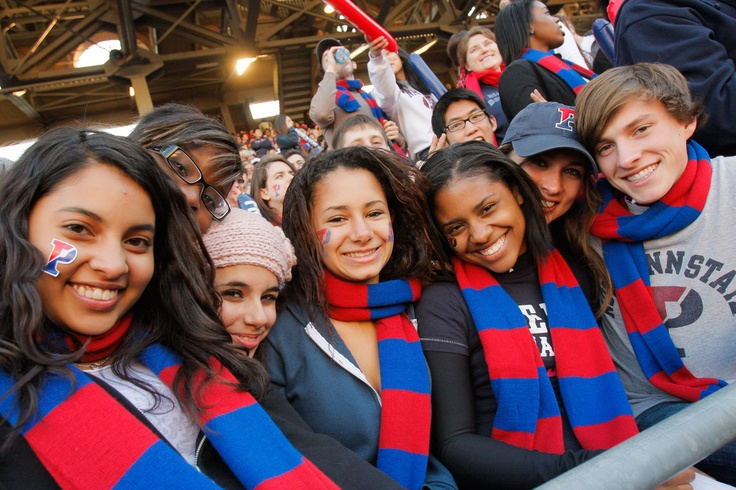 """Penn's founder, Benjamin Franklin proposed teaching students """"every thing that is useful and every thing that is ornamental."""" In addition to academics, sports are a major part of life on campus. Quakers football fans bundle up in Penn's red and blue to cheer on the team at Franklin Field."""
