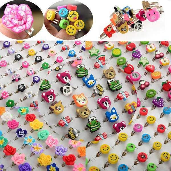 10pcs Wholesale Lots Bulk Mixed Polymer Clay Children Kids Boys Finger Rings Free Ship