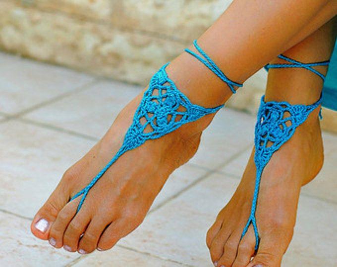 Spiaggia matrimonio scarpe spiaggia sandali spiaggia cavigliera estate sposa estate regalo estate vendita piede gioielli all'uncinetto sandali a piedi nudi