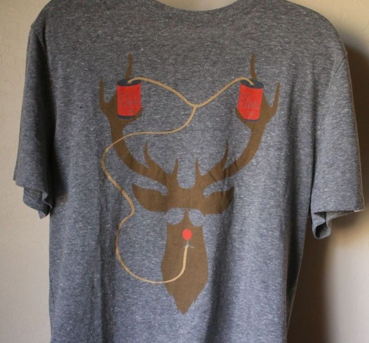 Original Penguin Gray Christmas Reindeer Beer Shirt Men's (Large) & (XL) NWT #OriginalPenguin #GraphicTee