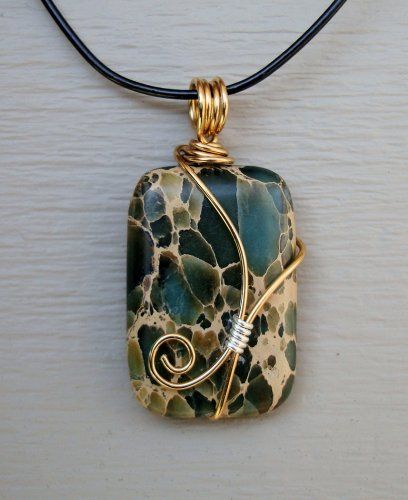 Inspiration- love this wire-wrapped bail. African Turquoise / Sea Sediment Pendant by handmadebywendylady