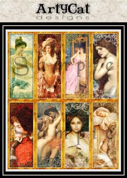 This set of 8 bookmarks are slices of fine art. They feature women images, have been digitally altered,enhanced, and distressed with scroll overlays. Highlight surrounded by gold frames with antiqued and grunge texture details, use them as bookmarks or as collage elements in altered art, junk journals and more. #PrintableBookmarks #FineArtBookmarks #DigitalCollageSheet #JunkJournalSupplies