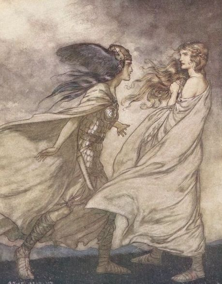 This is an illustration of Brünnhilde being visited by her Valkyrie sister Waltraute (in Richard Wagner's The Ring/Der Ring des Nibelungen) by Arthur Rackham. If you don't know who he is, then please look him up via Wikipedia. #artist #illustrator #art
