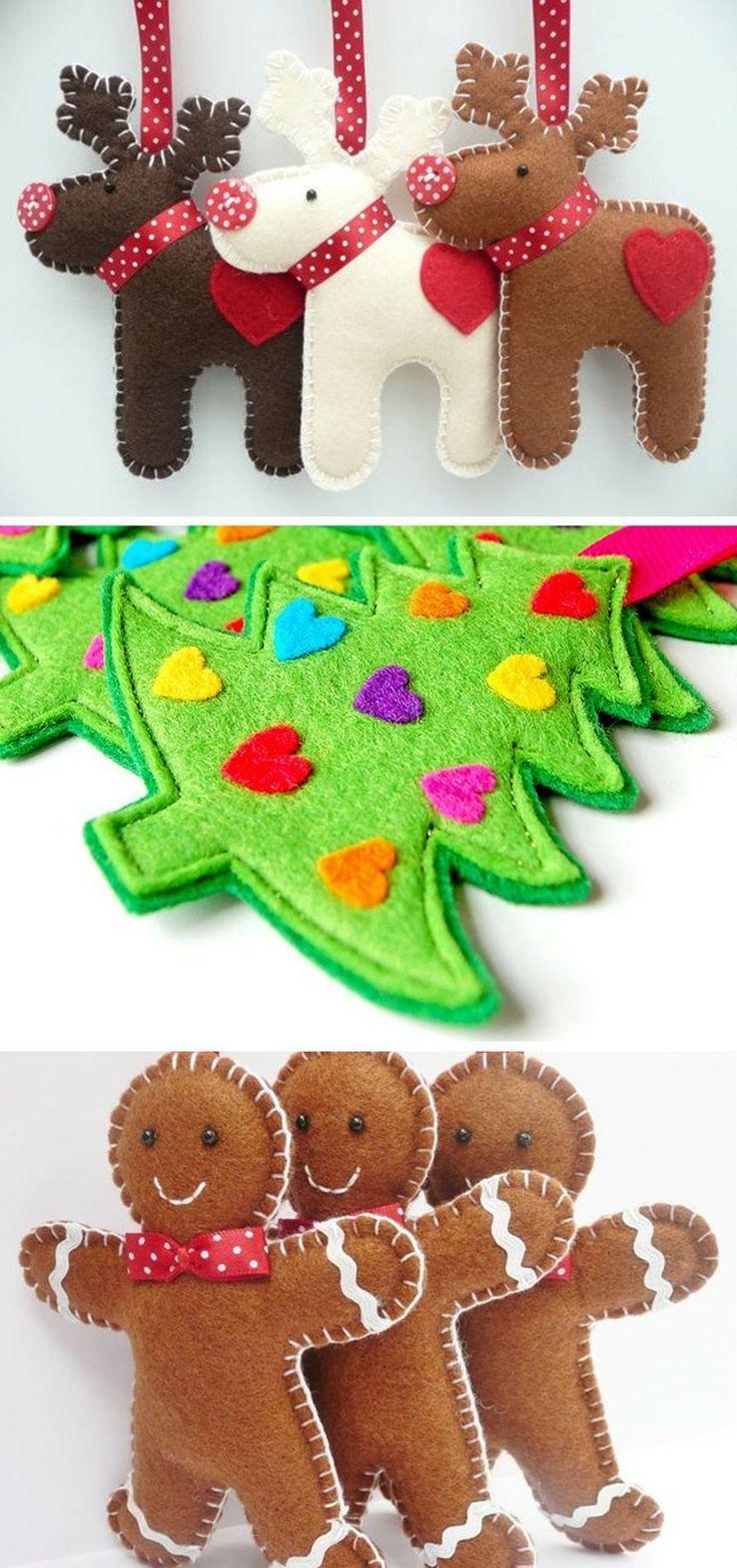 DIY: Pinterest Proyecto # 3 - Adornos de Navidad en fieltro - soñador:                                                                                                                                                                                 Más
