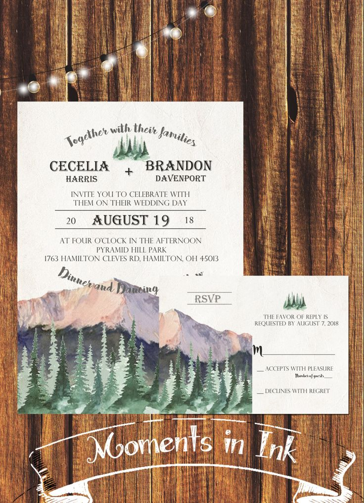 free online printable wedding thank you cards%0A Watercolor Mountain and Pine Tree Wedding Invitation  FREE SHIPPING Rustic  Wedding  Rustic Mountain  Watercolor  Forest Wedding  Country