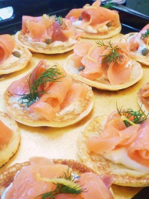 ... salmon; lemon blini's; fresh horseradish, shallot & herb creme