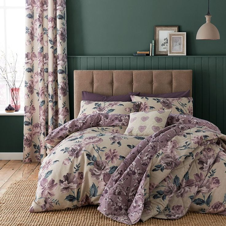 Catherine Lansfield Painted Floral Easy Care Double Duvet Set Plum: Amazon.co.uk: Kitchen & Home