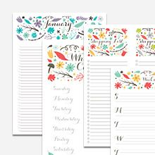 Free Folk Floral Printable Calendar and Lists {Monthly List Calendar, Weekly Planner, Meal Planner and Shopping List}