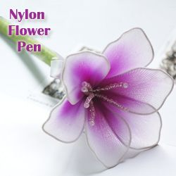 FREE PHOTO TUTORIAL ~ @ http://www.newsheer.com/ebook_flower-pen.php E-Book: DIY nylon stocking flower pen.