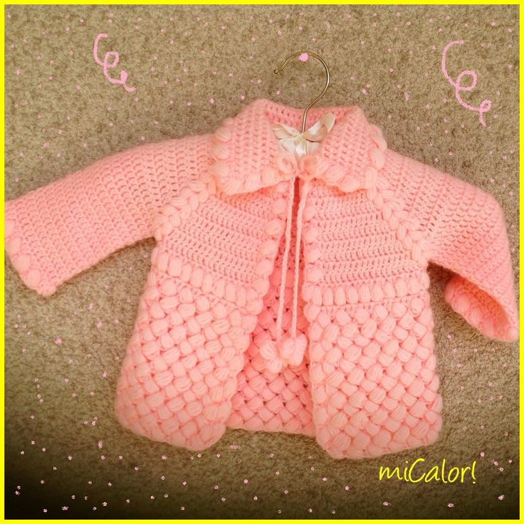 Crochet Baby Girl Jacket - Pink & White by miCalorKnits on Etsy