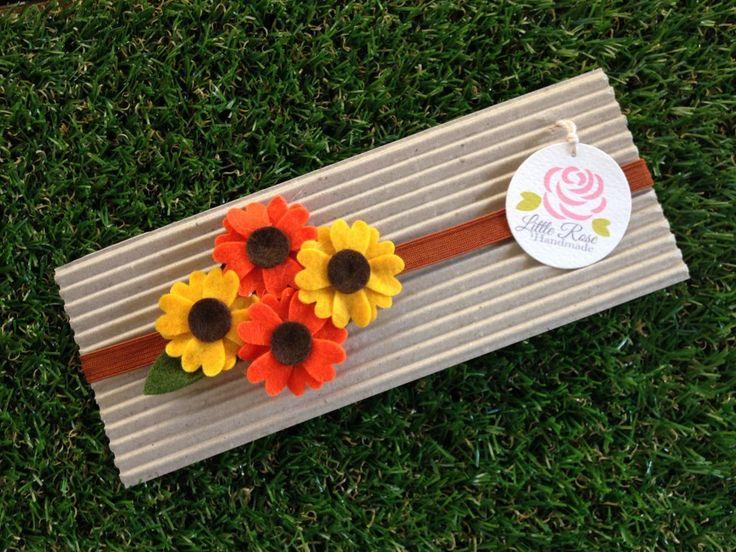 Fascia elastica a girasoli per bambina, by Romanticards e Little Rose Handmade, 6,00 € su misshobby.com