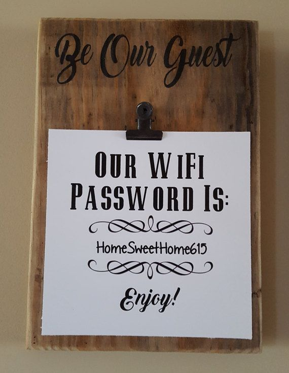7 1 2 X 10 Reclaimed Wood Be Our Guest WiFi Password Sign Plaque