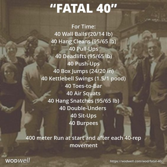 """""""FATAL 40"""" Benchmark WOD: For Time: 40 Wall Balls (20/14 lb); 40 Hang Cleans (95/65 lb); 40 Pull-Ups; 40 Deadlifts (95/65 lb); 40 Push-Ups; 40 Box Jumps (24/20 in); 40 Kettlebell Swings (1.5/1 pood); 40 Toes-to-Bar; 40 Air Squats; 40 Hang Snatches (95/65 lb); 40 Double-Unders; 40 Sit-Ups; 40 Burpees; 400 meter Run at start and after each 40-rep movement"""