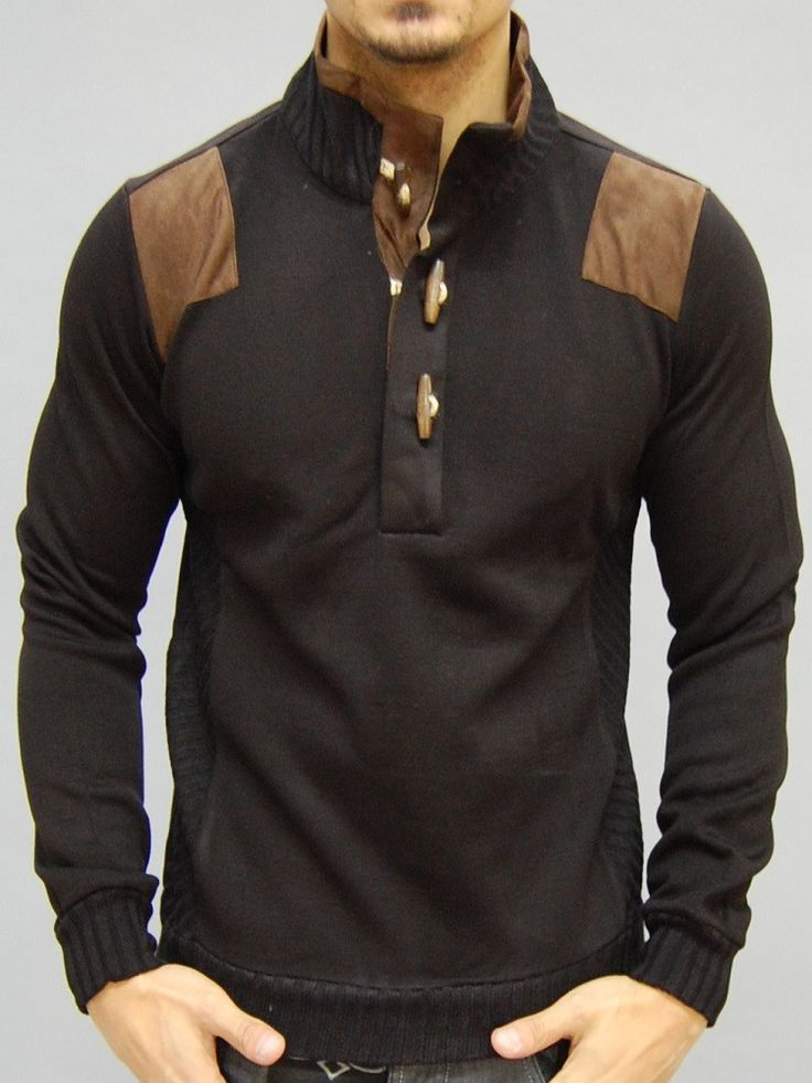 great mock neck sweater w/ suede patches on the shoulder and the the collar PLEASE USE THE SIZE CHART TO PICK THE CORRECT SIZE FOR YOU. -HIGH QUALITY MATERIAL -BODY / SLIM FIT FITTED