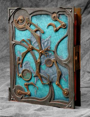 Handmade steampunk book by Tim Baker.