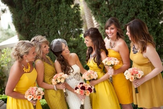 Found on WeddingMeYou.com - Mismatched Bridesmaid Dresses – You're My Sunshine! yellow theme #wedding