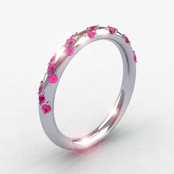 Something for the colorful, non~traditional, out~spoken Bride!  French Bridal 14K White Gold Pink Sapphire Wedding by artmasters, $529.00