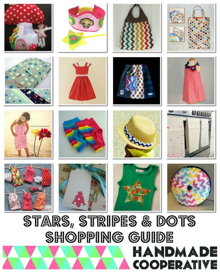 Handmade Cooperative 'Stars, stripes and dots' shopping guide.    http://handmadecooperative.blogspot.com.au/2013/11/shopping-guide-stars-stripes-and-dots.html