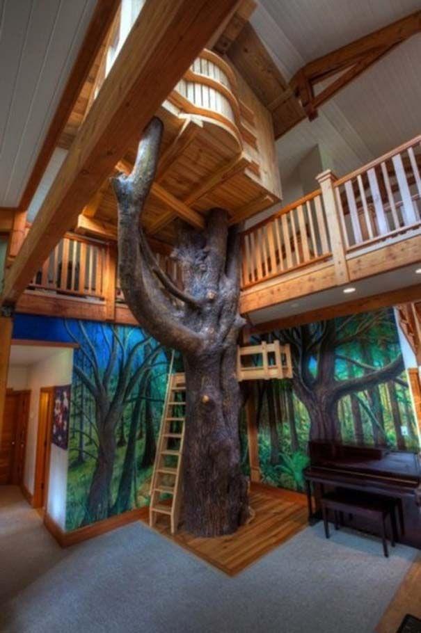 Bedroom, Kids Bedroom Indoor Tree House Design: Cool Interior Kids Bedroom with The Tree House Style